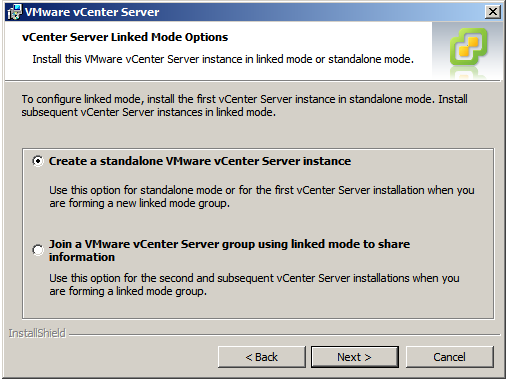 Choosing the vCenter installation type