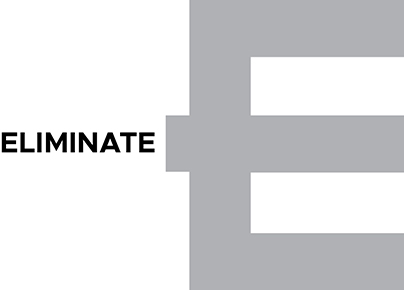 Image shows the alphabet E in a large size with the word eliminate written next to it.