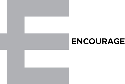 Image shows the alphabet E in a large size with the word encourage written next to it.