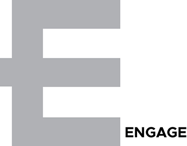 Image shows the alphabet E in a large size with the word engage written next to it.