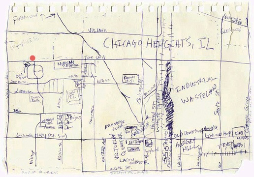 A personal map drawn by Ryan Mendenhall showing Chicago Heights, Illinois, U.S.A.; this map is courtesy of Lori Napoleon's maps project web site: