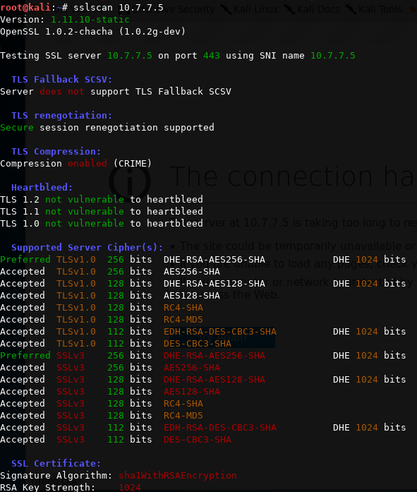 Scanning TLS/SSL configuration with SSLScan - Web Penetration