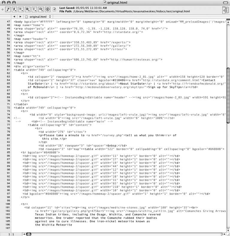 My original, pre-optimization file; maybe a few too many line feeds and tab indents, but easy to read for a hand-coder