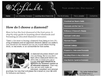 An informational web site about diamonds