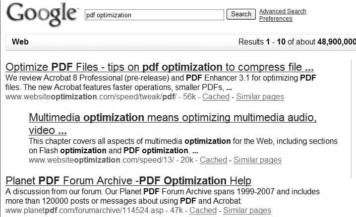 Google reinstating the PDF optimization article
