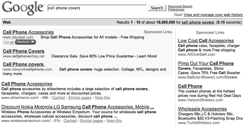"A typical search result for the phrase ""cell phone covers"""