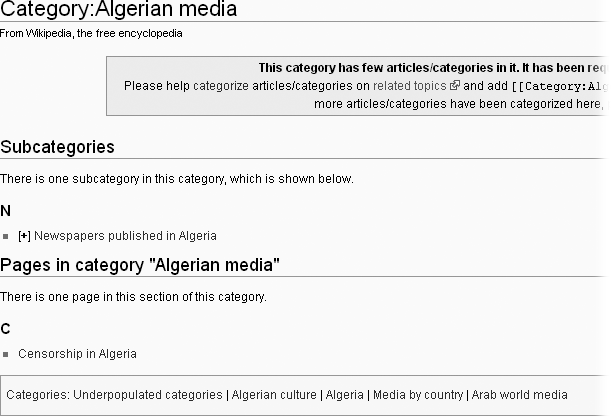 The category page Algerian media has five parent categories—one is a cleanup category; the other four are higher level topical categories. Put differently, Algerian media is a subcategory of five categories, four of them topical and one a cleanup category.