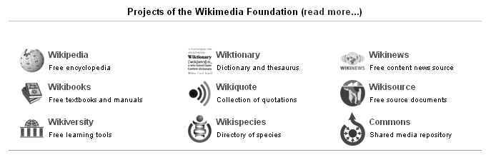 The Wikimedia Foundation has eight parallel projects, the oldest of which is Wikipedia, plus the Commons, a central repository of pictures and other media.