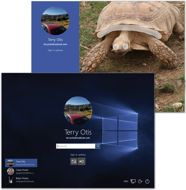 Lower left: If your machine has more than one account set up, tap or click your icon to sign in.Top right: Typing is so 2009! In Windows 10, you can log into your account using any of several more touchscreen-friendly methods, like drawing three predetermined lines on a photograph.