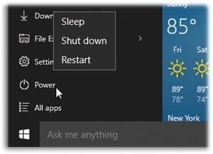 "Shutting down your computer requires only two steps now, rather than 417 (as in Windows 8).Open the Start menu. Choose Power, and then ""Shut down""."