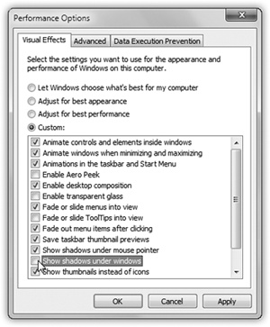 "Select ""Adjust for best performance"" to turn everything off, leaving you with, more or less, Windows XP. Alternatively, turn off only the animations you can live without."