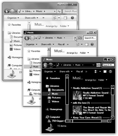 Most people with fast enough computers use the Aero look of Windows (top). But your computer may look different, especially if you've turned on one of the other styles—like Windows Classic (middle) or a high-contrast theme (bottom)—or if you're running a netbook that has Windows Starter Edition installed.