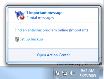 Viewing the messages summary and remedy links for the Action Center icon