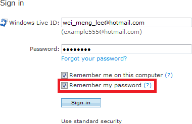 Remembering the password on the local computer