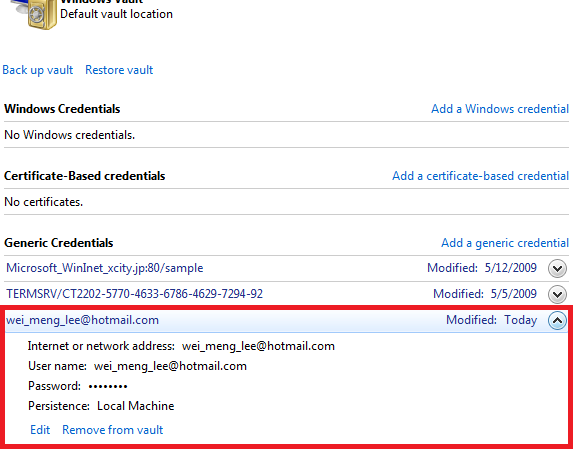 The credential for Hotmail is saved in the Credential Manager