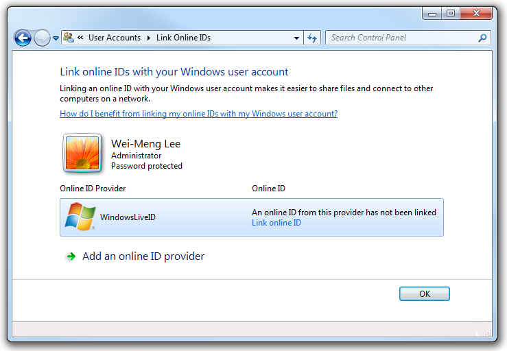 The WindowsLiveID provider in the Credentials Manager