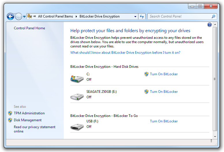 Managing BitLocker on all your attached drives