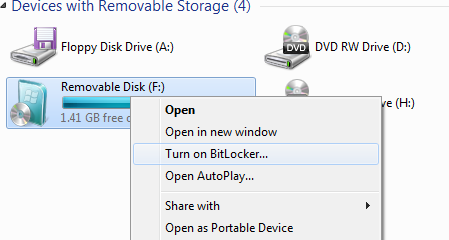 Turning on BitLocker for a thumb drive