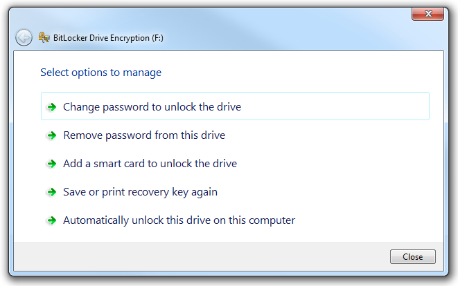 Managing BitLocker on an encrypted drive