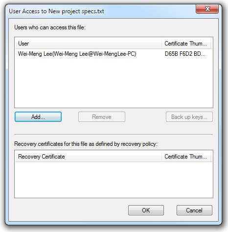 Viewing the user access list for the encrypted file