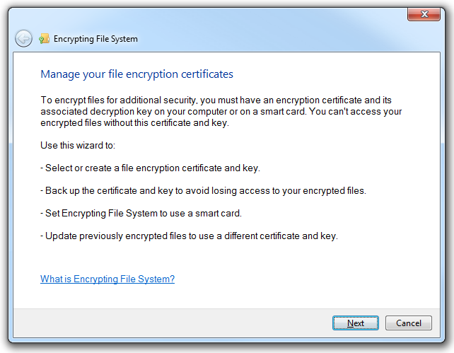 The Manage File Encryption Certificates application