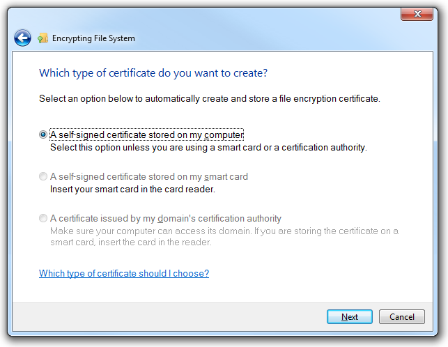 Selecting the type of certificate you want to create