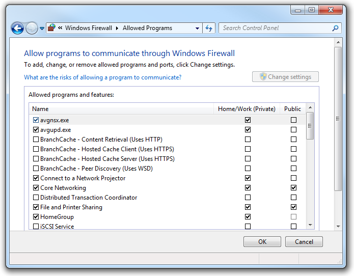 Granting permission so applications can pass through the Windows Firewall