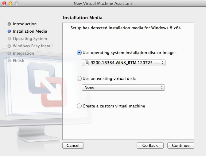Starting the installation of Windows 8 using VMWare Fusion