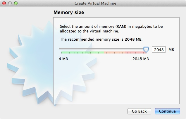 Choosing how much RAM to devote to Windows 8 in VirtualBox