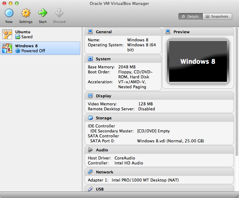 The VirtualBox manager