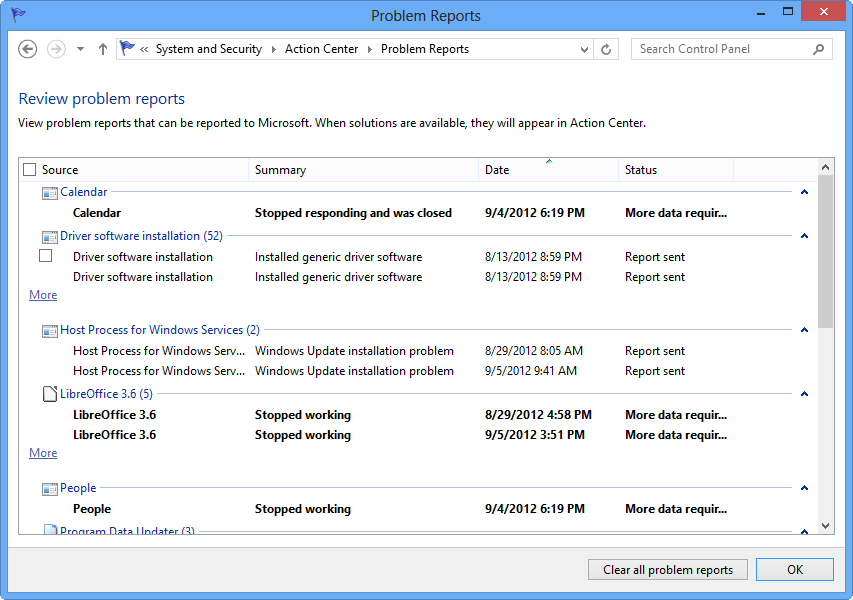 Windows 8's Reliability Monitor's summary of problems