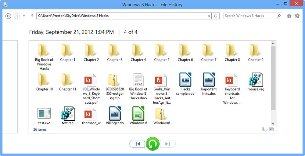 Opening File History from File Explorer