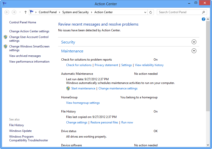 The Windows 8 Action Center's maintenance area