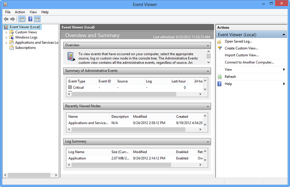 Windows 8's Event Viewer