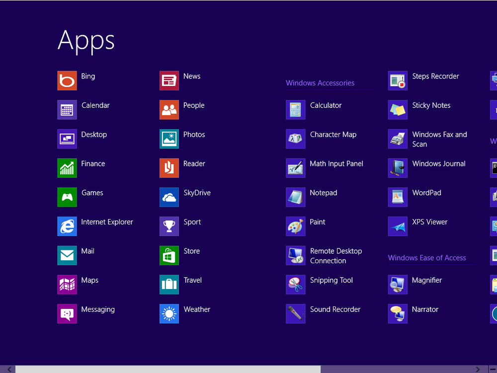 Finding all apps in Windows 8
