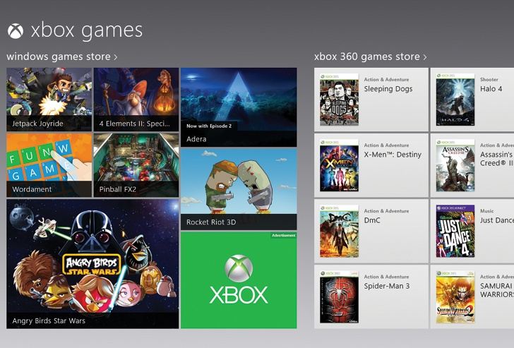 As you scroll horizontally to the right, you'll find ads for new games; the tiles for games you've recently played (on your computer or Xbox); a link to the Games section of the Windows Store; and a link to the Games section of the Xbox Store.
