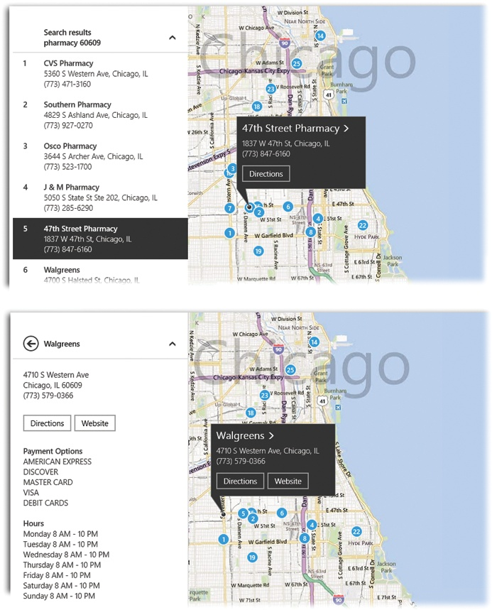 Top: When you search for something, Maps shows you all the results as blue dots, and as corresponding listings at left.Bottom: When you tap the > button on a search result, Maps turns into a full-blown Yellow Pages. It shows you the name, address, phone number, ratings, and other information about the business you've selected. Clearly labeled buttons take you to its Web site—or give you directions from your current location.