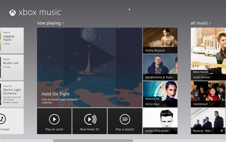 "The ""now playing"" screen offers album art for the currently playing song, along with buttons that trigger other handy functions—including buttons for three performers Microsoft thinks you'll like."