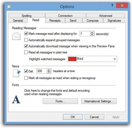 The Options dialog box has 10 tabs, each loaded with options. Most tabs have buttons that open additional dialog boxes. Coming in 2014: Windows Mail Options: The Missing Manual.