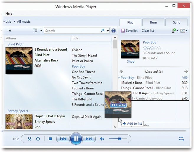 "To create a playlist, just start dragging tracks or whole albums to the Playlist pane. Switch views, or use the search box, as necessary to find the tracks you want. Drag songs up and down in the Playlist pane to reorder them. Click where it now says ""Untitled Playlist"" to give your playlist a name. Use the upper-right pop-up menu to scramble or sort the playlist."
