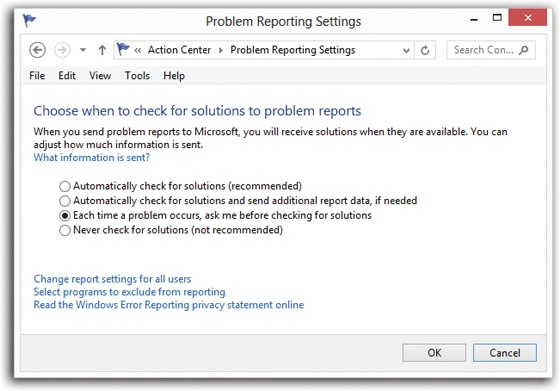 "Here's where you approve or deny the automatic crash reporting feature of Windows. Or use the third option, which means ""Send it, but ask me first."" (The second option means ""If some crash log or other file—which doesn't contain identifying information—is required, then go ahead and upload that without asking me."")"