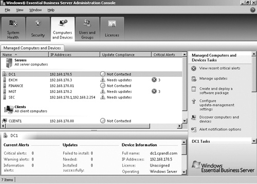 The Computers And Devices tab of the Windows EBS Administration Console