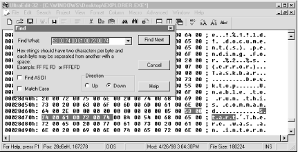 "Use a hex editor like the one shown to search for the word ""Start"" in Explorer.exe"