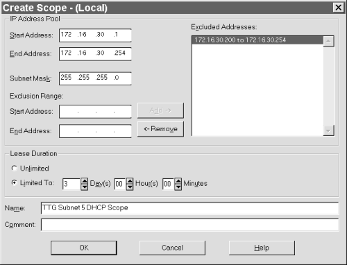 The Create Scope dialog