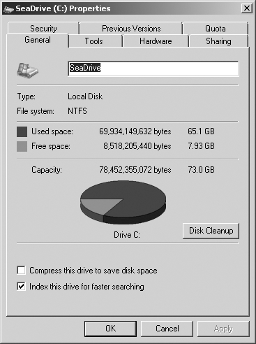 The Drive Properties dialog box shows a good overview of disk space utilization.