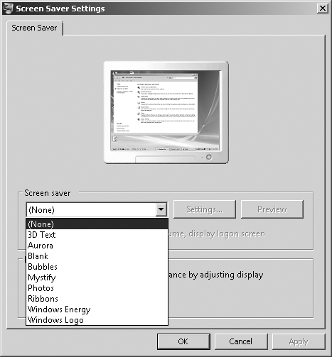 The Screen Saver Settings dialog box in Control Panel.