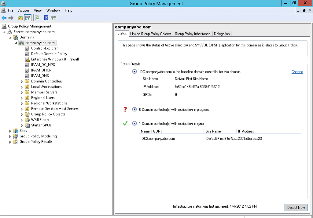Group Policy Infrastructure Status - Windows Server® 2012