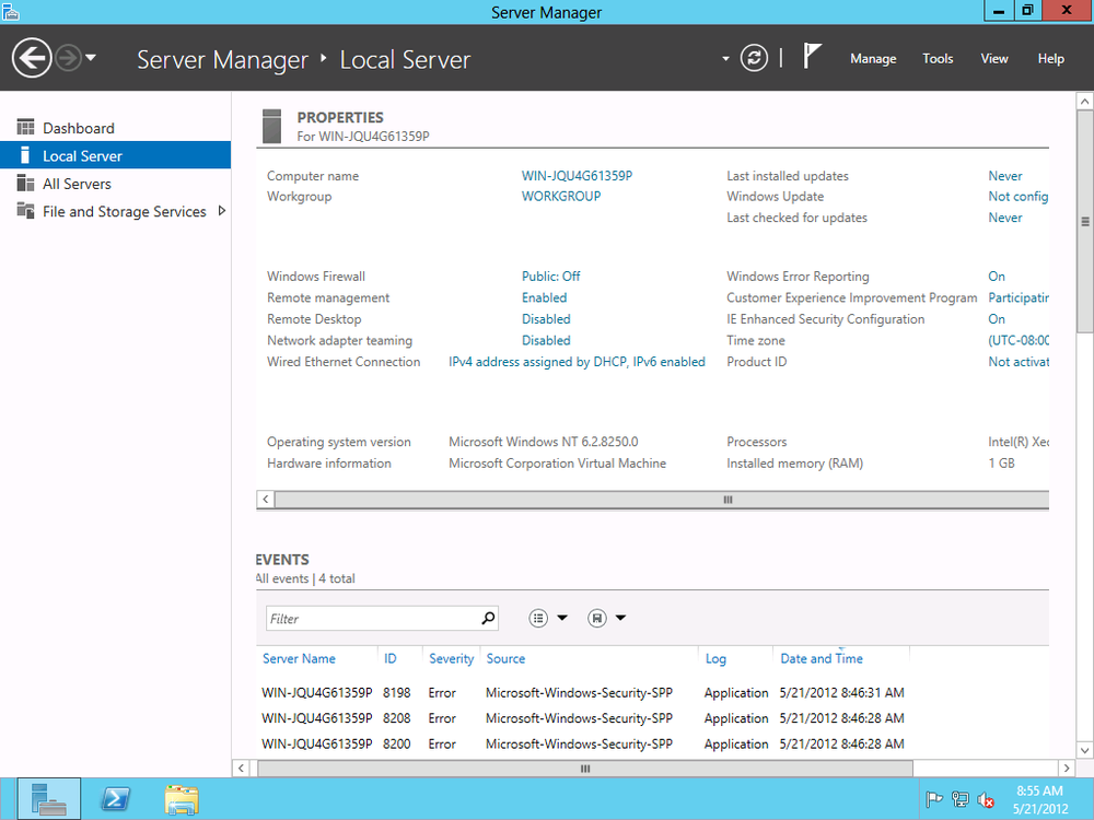 Clicking Workgroup to join Server 2012 to a domain