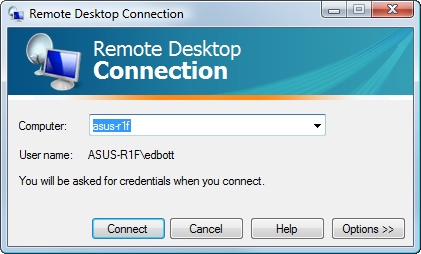 You can specify the remote computer by name or IP address.