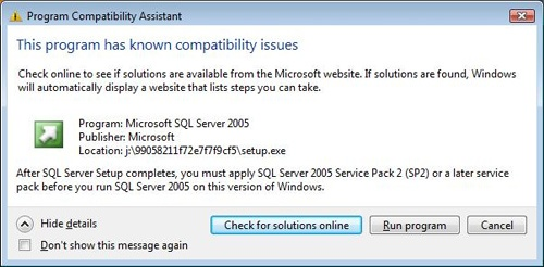 Windows flags some potential compatibility problems and recommends solutions before you install.